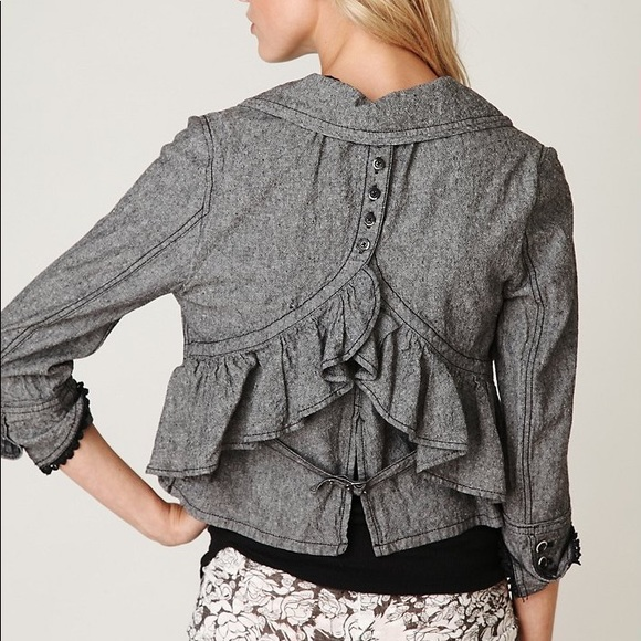 Free People Jackets & Blazers - Free People gray cotton/linen peplum crop jacket